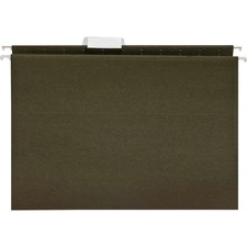"Business Source 1/5 Cut Standard Hanging File Folders - Letter - 8 1/2"" x 11"" Sheet Size - 1/5 Tab Cut - 11 pt. Folder Thickness - Green - Recycled - 25 / Box"