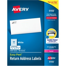 AVE 5155 Avery Easy Peel Mailing Laser Labels AVE5155