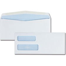 "Quality Park Double Window Security Envelope - #10 (9.5"" x 4.12\"") - 24lb - Gummed - 500 / Box - White"