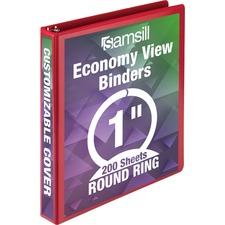 "Samsill Economy Round Ring View Binders - 1"" Binder Capacity - Letter - 8 1/2"" x 11"" Sheet Size - 225 Sheet Capacity - 3 x Round Ring Fastener(s) - 2 Internal Pocket(s) - Chipboard, Polypropylene - Red - Recycled - Exposed Rivet, Clear Overlay - 1 Each"