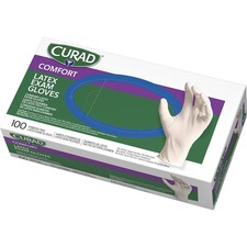 Curad Powder Free Latex Exam Gloves - Small Size - Latex - White - Powder-free, Textured - For Healthcare Working - 100 / Box