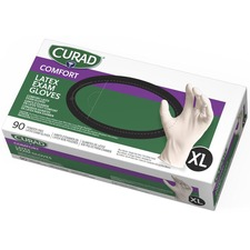 Curad Powder Free Latex Exam Gloves - X-Large Size - Latex - White - Powder-free, Textured - For Healthcare Working - 90 / Box