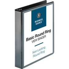 Business Source Round Ring View Binder - 1 1/2