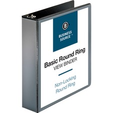 "Business Source Round-ring View Binder - 2"" Binder Capacity - Letter - 8 1/2"" x 11"" Sheet Size - 475 Sheet Capacity - Round Ring Fastener(s) - 2 Internal Pocket(s) - Polypropylene - Black - Wrinkle-free, Gap-free Ring, Clear Overlay, Non Locking Mechanism - 1 / Each"