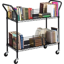 SAF 5333BL Safco Double-sided Wire Book Cart SAF5333BL