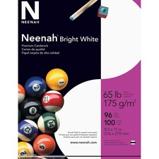 "Neenah Card Stock - Letter - 8 1/2"" x 11"" - 65 lb Basis Weight - Smooth - 100 / Pack - Bright White"
