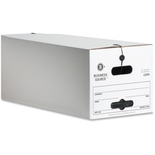 "Business Source File Storage Box - 350lb - Letter - External Dimensions 12"" Height x 24\"" Width x 10\"" Depth - White"