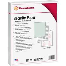 "DocuGard Advanced Security Paper for Printing Prescriptions & Preventing Fraud, 7 Features - Letter - 8 1/2"" x 11"" - 24 lb Basis Weight - Tamper Resistant, Erasure Protection, Watermarked, CMS Approved - 500 / Ream - Green"