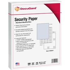 "DocuGard Standard Security Paper for Printing Prescriptions & Preventing Fraud, 6 Features - Letter - 8 1/2"" x 11"" - 24 lb Basis Weight - Tamper Resistant, CMS Approved - 500 / Ream - Blue"