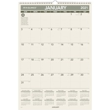 AAG PM3G28 At-A-Glance 1PPM Recycled Mthly Wall Calendar AAGPM3G28