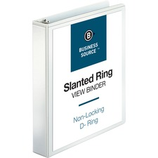 """Business Source Basic D-Ring White View Binders - 1 1/2"""" Binder Capacity - D-Ring Fastener(s) - Polypropylene - White - 1.12 lb - Clear Overlay - 1 / Each"""