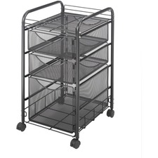 "Safco Onyx Mesh File Cart - 2 Shelf - 3 Drawer - 4 Casters - 1.50"" Caster Size - Steel - x 15.8"" Width x 17"" Depth x 27"" Height - Steel Frame - Black - 1 Each"