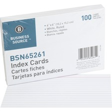 BSN 65261 Bus. Source Ruled White Index Cards BSN65261