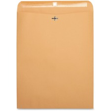 "Business Source Heavy-Duty Clasp Envelope - 12"" x 15.5\"" - 28lb - Clasp - Kraft - 100 / Box - Brown"