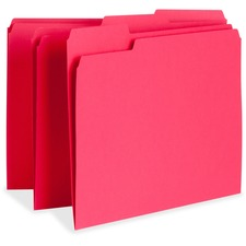 "Business Source Color-coding Top-tab File Folders - Letter - 8 1/2"" x 11"" Sheet Size - 1/3 Tab Cut - Assorted Position Tab Location - 11 pt. Folder Thickness - Red - Recycled - 100 / Box"