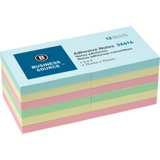"""Business Source 3"""" Plain Pastel Colors Adhesive Notes - 100 - 3"""" x 3"""" - Square - Assorted - Repositionable, Solvent-free Adhesive - 12 / Pack"""