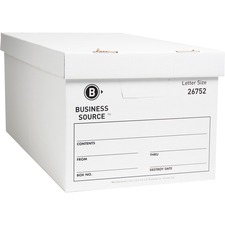 "Business Source File Storage Box - Letter - External Dimensions 10"" Height x 12\"" Width x 24\"" Depth - Cardboard - White"