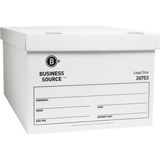 "Business Source File Storage Box - Legal - External Dimensions 10"" Height x 15\"" Width x 24\"" Depth - Cardboard - White"