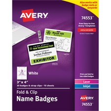 AVE 74553 Avery Fold N Clip Printable Name Badges w/Strap AVE74553