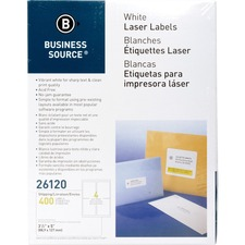 "Business Source Bright White Premium-quality Address Labels - Permanent Adhesive - 3 1/2"" Width x 5"" Length - Rectangle - Laser, Inkjet - White - 4 / Sheet - 100 Total Sheets - 400 / Pack"