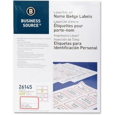 BSN 26145 Bus. Source Laser/Inkjet Name Badge Labels BSN26145
