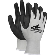 Memphis Nitrile Coated Knit Gloves - Large Size - Nylon, Foam, Nitrile - Gray, Black - Knit Wrist, Comfortable, Durable, Cut Resistant, Seamless, Spill Resistant - For Industrial, Multipurpose - 1 / Pair