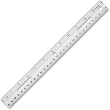 "Business Source 12"" Plastic Ruler - 12"" Length 1.3"" Width - 1/16 Graduations - Metric, Imperial Measuring System - Plastic - 1 / Each - White"