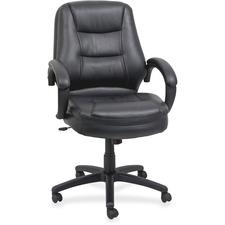 "Lorell Westlake Mid Back Managerial Chair - Leather Black Seat - Polyurethane Black Frame - Black - 26.5"" Width x 28.5"" Depth x 43"" Height"