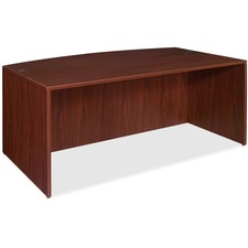 "Lorell Essentials Bowfront Desk Shell - 70.9"" x 41.4"" x 29.5"" x 1"" - Finish: Laminate, Mahogany"