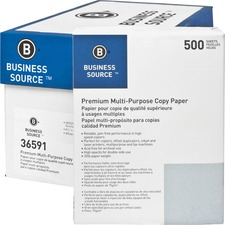 "Business Source Premium Multipurpose Copy Paper - Letter - 8 1/2"" x 11"" - 20 lb Basis Weight - 92 Brightness - 5000 / Carton - White"