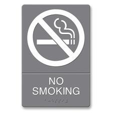 "U.S. Stamp & Sign ADA Plastic No Smoking Sign - \""No Smoking\"" Preprinted - 6\"" x 9\"" - Plastic - Gray, White"