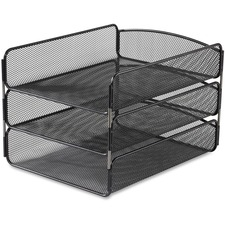 "Safco Onyx Triple Tray - 8.0"" x 9.3\"" x 11.8\"" - Steel - Black"