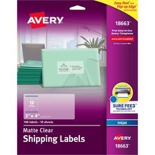 AVE 18663 Avery Easy Peel Inkjet Printer Mailing Labels AVE18663