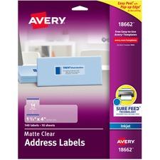 AVE 18662 Avery Easy Peel Inkjet Printer Mailing Labels AVE18662