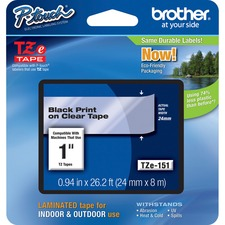 "Brother TZe151 1"" Laminated Adhesive Tape, Black on Clear"