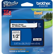 "Brother TZ Label Tape Cartridge - 0.5"" Width x 26ft Length - 1 Each - Black, White"