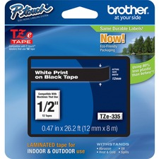 "Brother TZe335 1/2"" Laminated Adhesive Tape, White on Black"