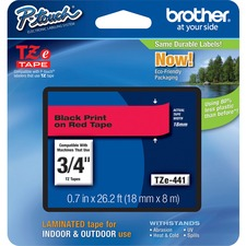 "Brother TZe441 3/4"" Laminated Adhesive Tape, Black on Red"