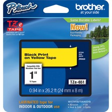 "Brother TZe651 1"" Laminated Adhesive Tape, Black on Yellow"