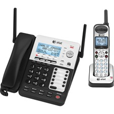 AT&T SynJ SB67138 Cordless Phone with Answering Machine - Black, Silver