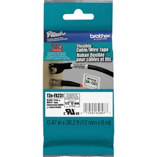 Brother TZe-FX231 Black on White Flexible Tape