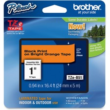Brother TZe-B51 Black on Fluorescent Orange Laminated Tape