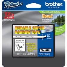 Brother TZe-N201 Black on White Non Laminated Tape