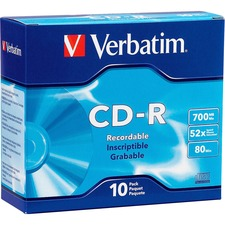 VER 94935 Verbatim 700MB 52X Branded Slim Case CD-R VER94935