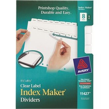 AVE 11427 Avery Index Maker 7-Hole Clear Label Dividers AVE11427
