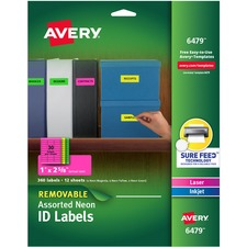 AVE 6479 Avery Printable Neon Multipurpose Oval Labels AVE6479