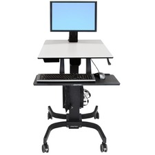 "Ergotron WorkFit-C Single LD Sit-Stand Workstation - Cart for LCD display / keyboard / mouse / CPU - gray, black - screen size: 24"" - mounting interface: 100 x 100 mm, 75 x 75 mm"
