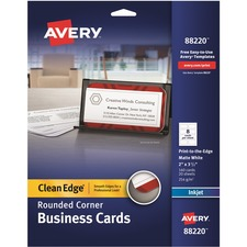 AVE 88220 Avery Clean Edge Rounded Corners Business Cards AVE88220