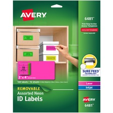 AVE 6481 Avery Printable Neon Multipurpose Oval Labels AVE6481