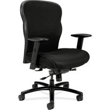 "HON Wave Mesh Big and Tall Chair - Fabric Black Seat - 5-star Base - 21.63"" Seat Width x 20"" Seat Depth - 29.5"" Width x 25.6"" Depth x 41.5"" Height"